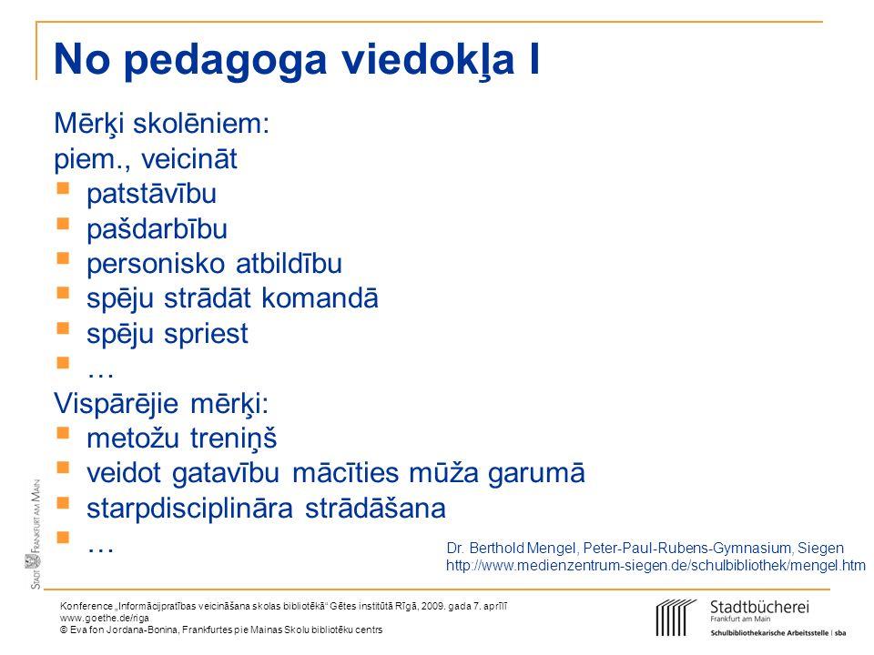 No pedagoga viedokļa I Mērķi skolēniem: piem., veicināt patstāvību