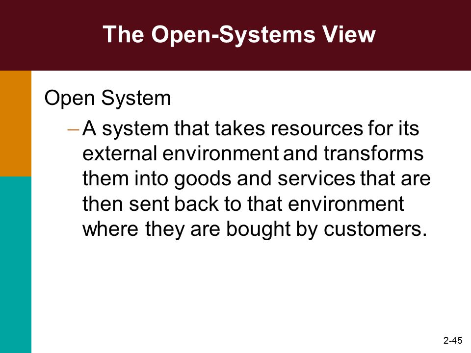 The Open-Systems View Open System