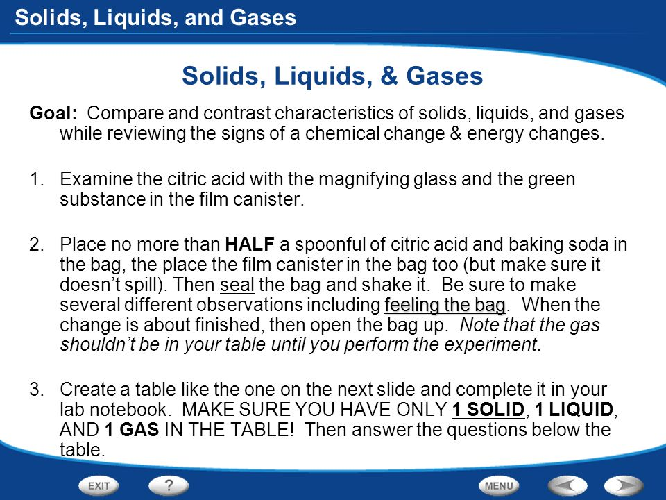 properties of liquid and solids lab Experiment #4  or metallic based on their physical properties and a few simple  tests  molecular compounds can be gases, liquids or low-melting solids.