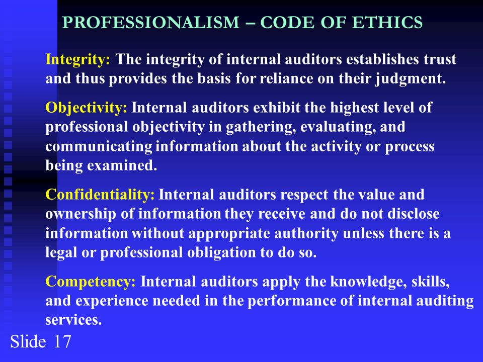 code of ethics audit 1 Code of ethics for professional accountants ethics 1104 section 100 introduction and fundamental principles 1001 a distinguishing mark of the accountancy profession is its acceptance of.