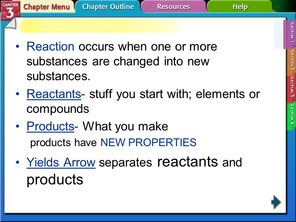 Reactants- stuff you start with; elements or compounds