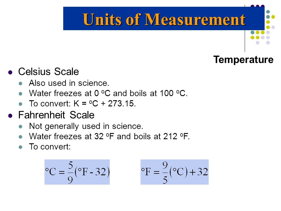 Units of Measurement Temperature Celsius Scale Fahrenheit Scale