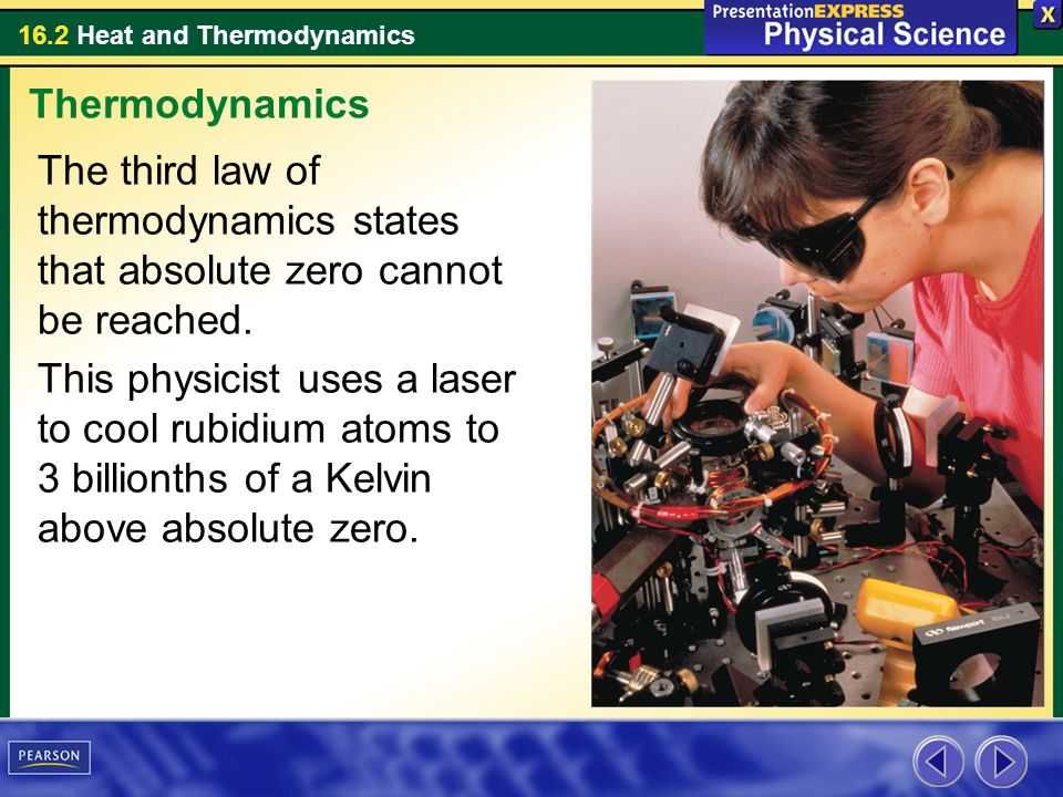 Thermodynamics The third law of thermodynamics states that absolute zero cannot be reached.