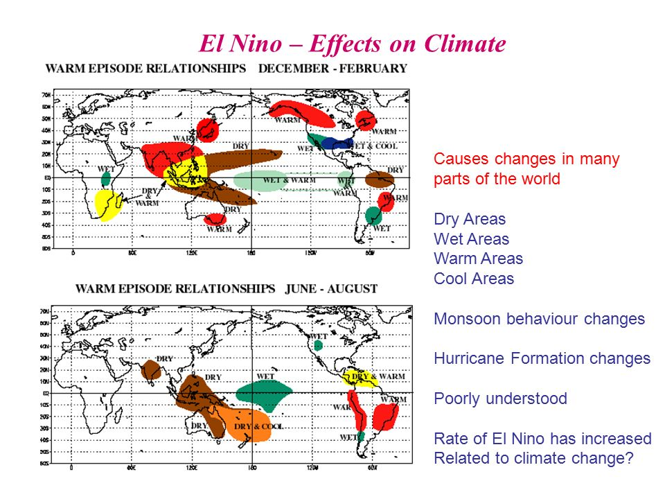 the causes and effects of the el nino weather phenomenon Weather agencies predict the evolving el niño may turn into the strongest on record, bringing floods and drought to east africa and devastating rural communities.