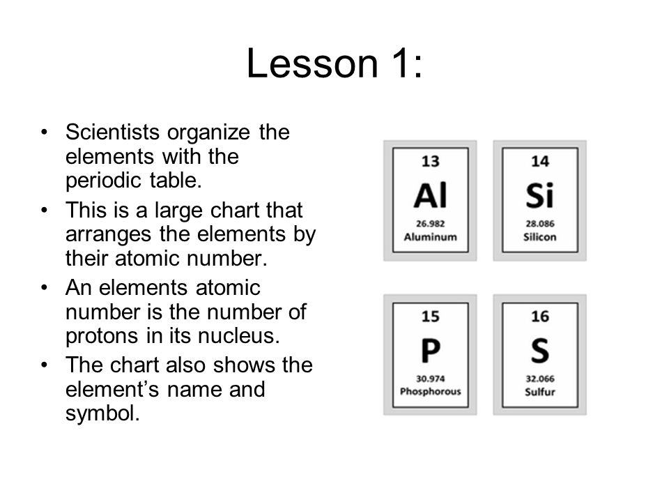 Lesson 1: Scientists organize the elements with the periodic table.