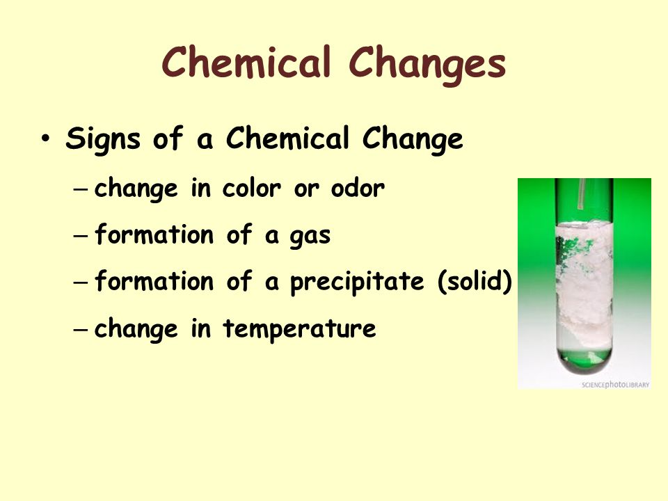 Chemical Changes Signs of a Chemical Change change in color or odor
