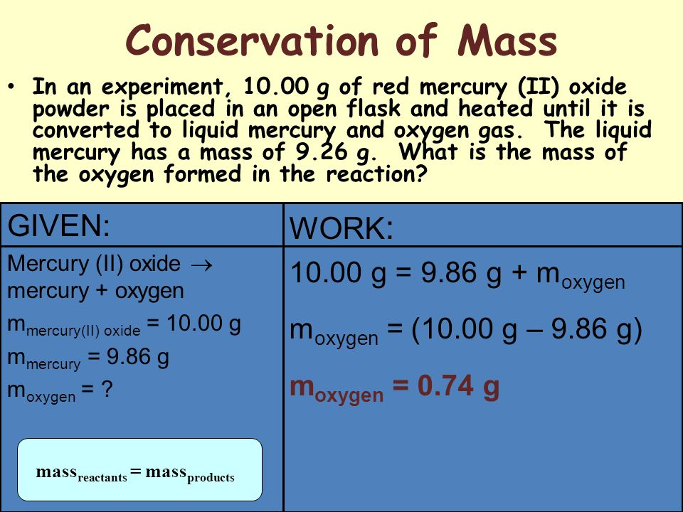 Conservation of Mass GIVEN: WORK: g = 9.86 g + moxygen