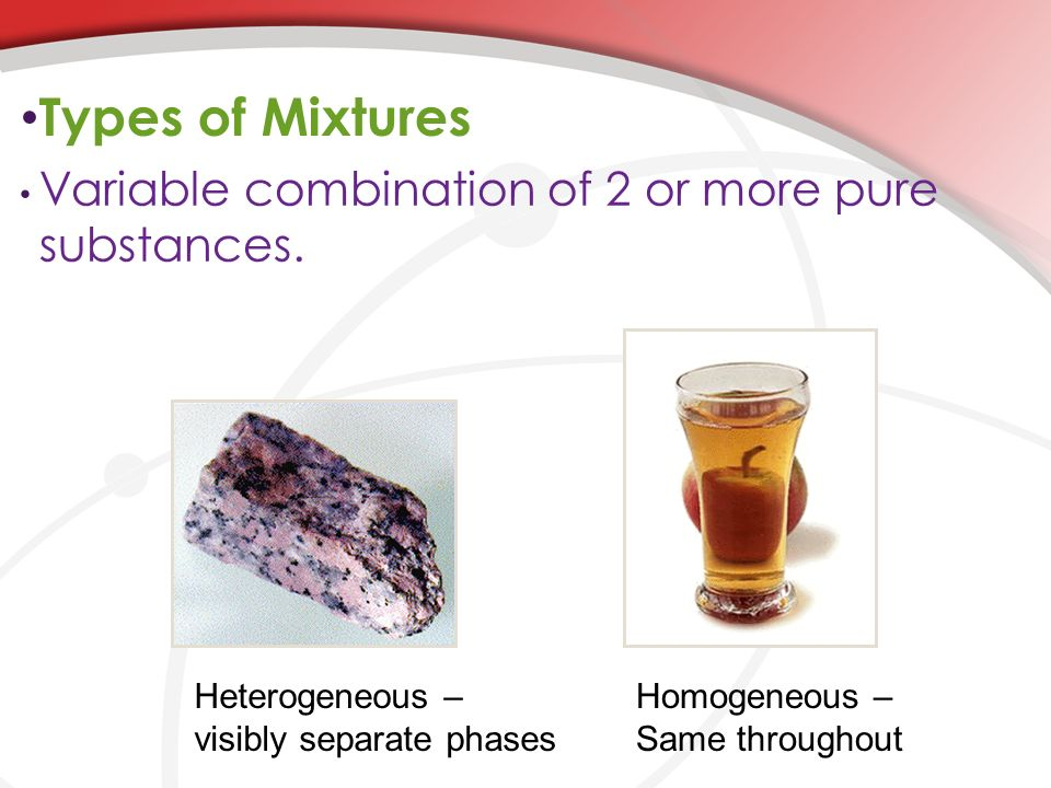 Types of Mixtures Variable combination of 2 or more pure substances.