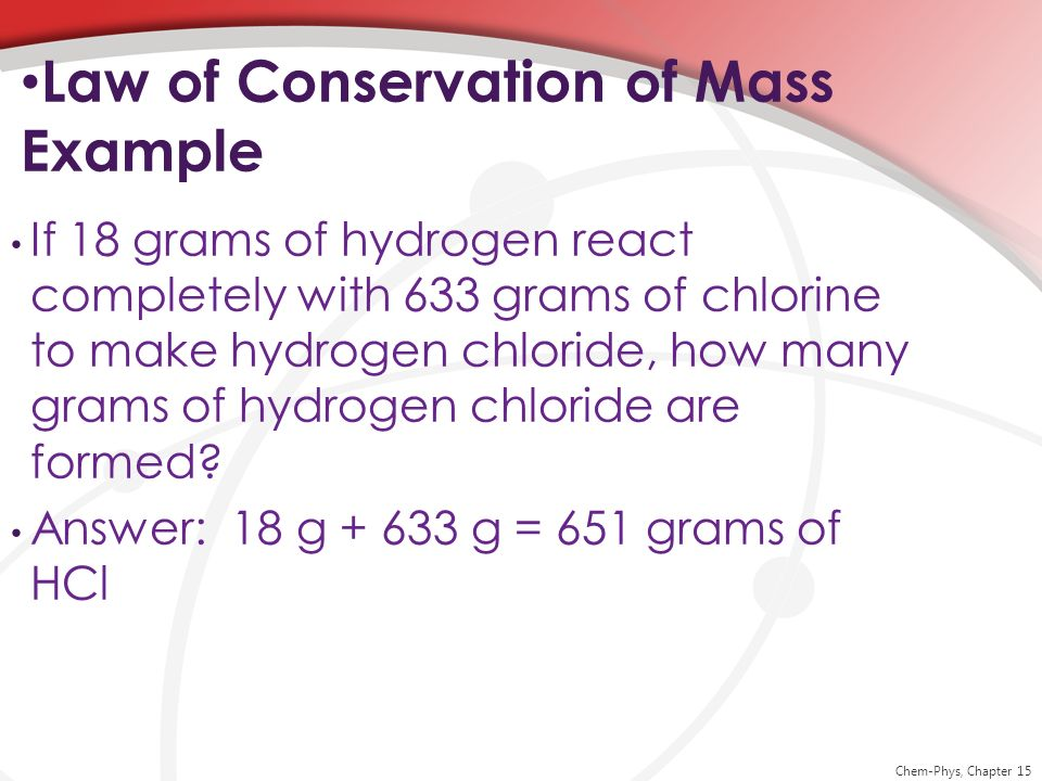 Law of Conservation of Mass Example