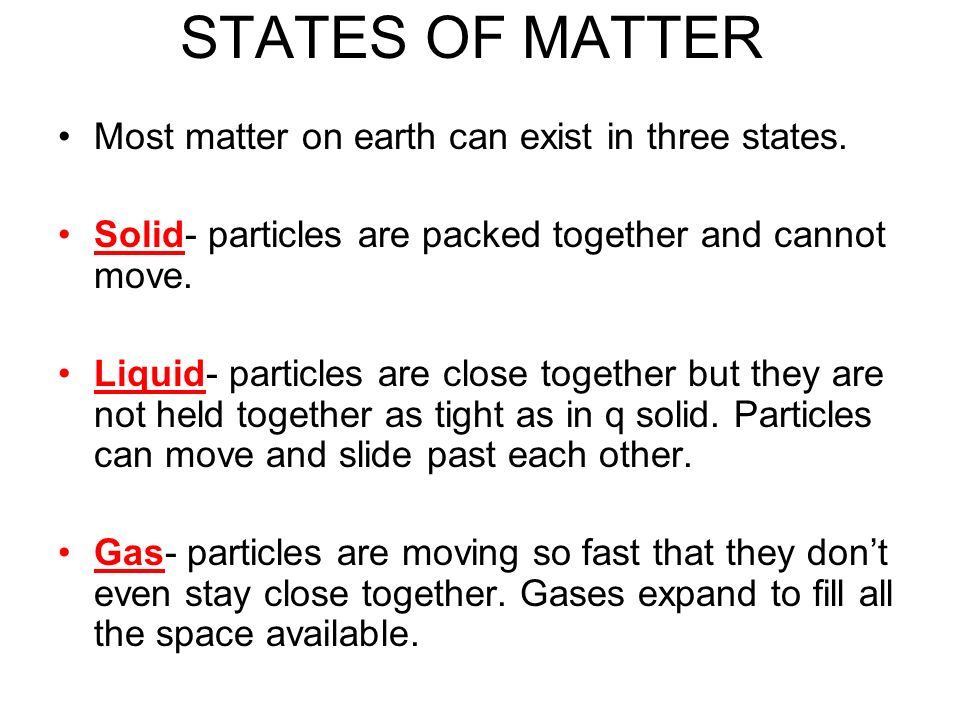 STATES OF MATTER Most matter on earth can exist in three states.