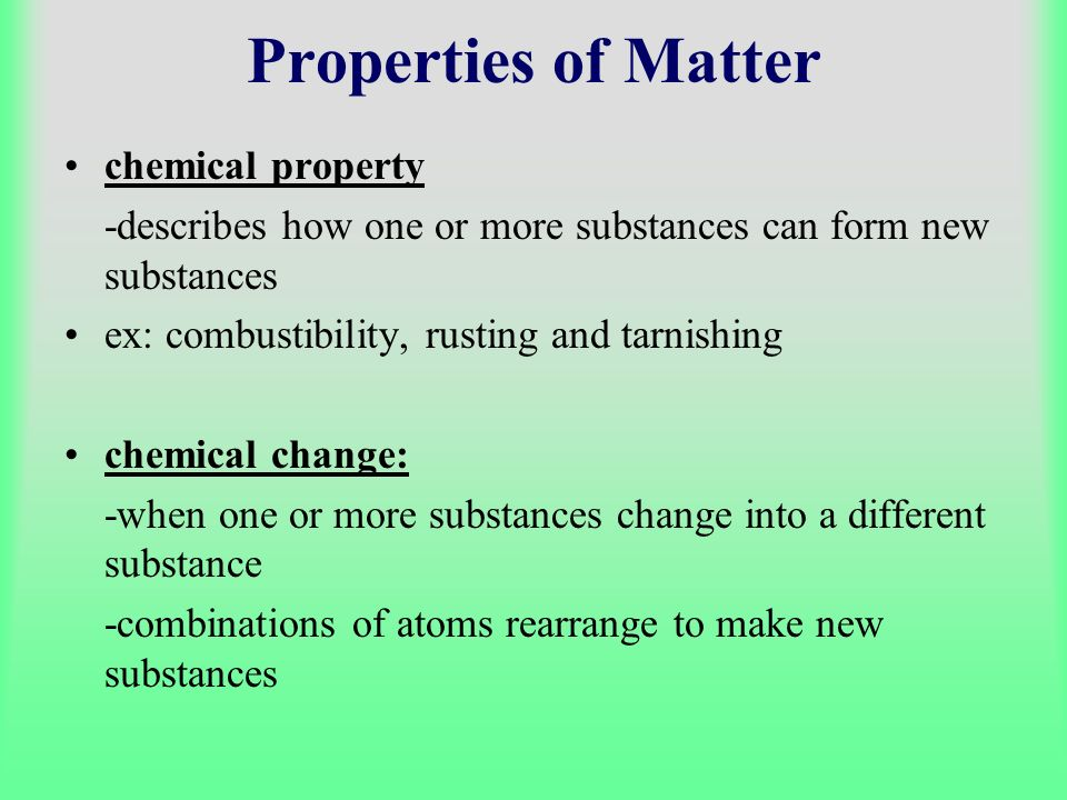Properties of Matter chemical property
