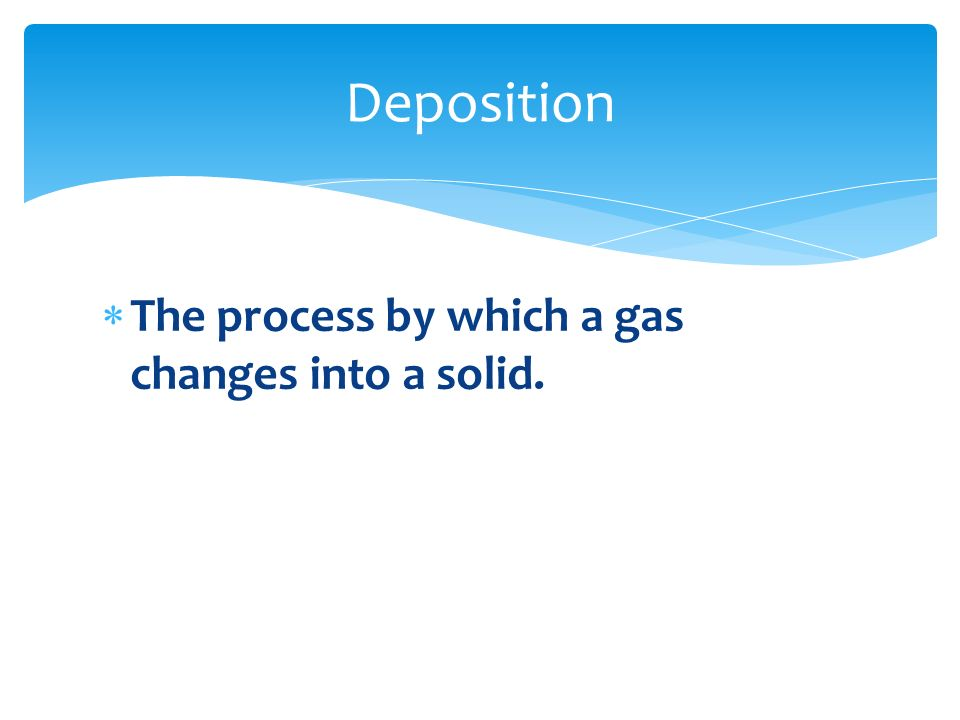 Deposition The process by which a gas changes into a solid.