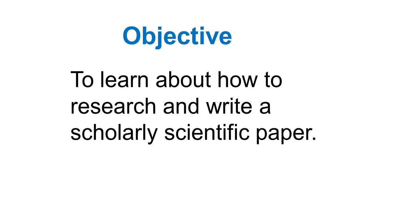 How To Write A Scholarly Paper