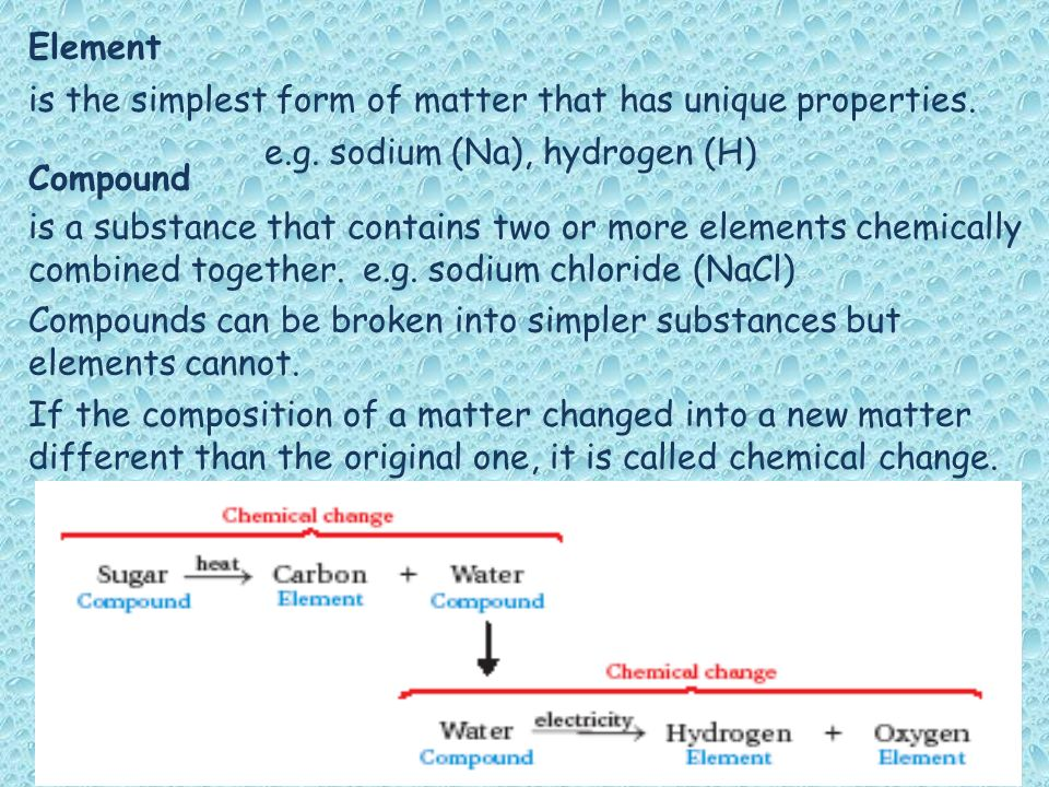 Element is the simplest form of matter that has unique properties. e.g. sodium (Na), hydrogen (H) Compound.