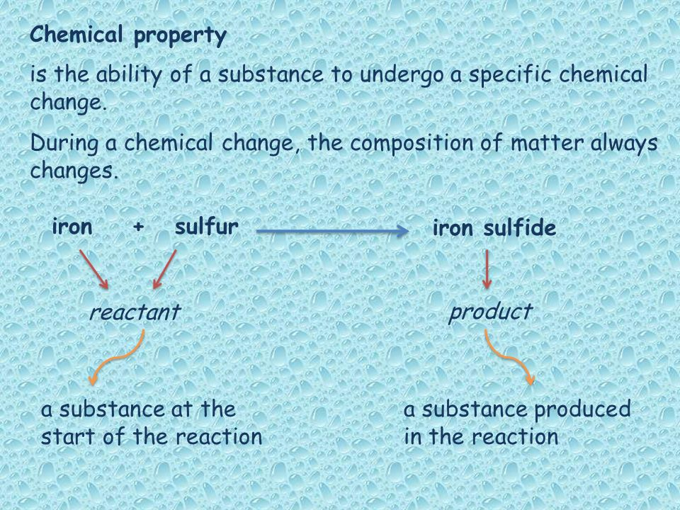 Chemical property is the ability of a substance to undergo a specific chemical change.