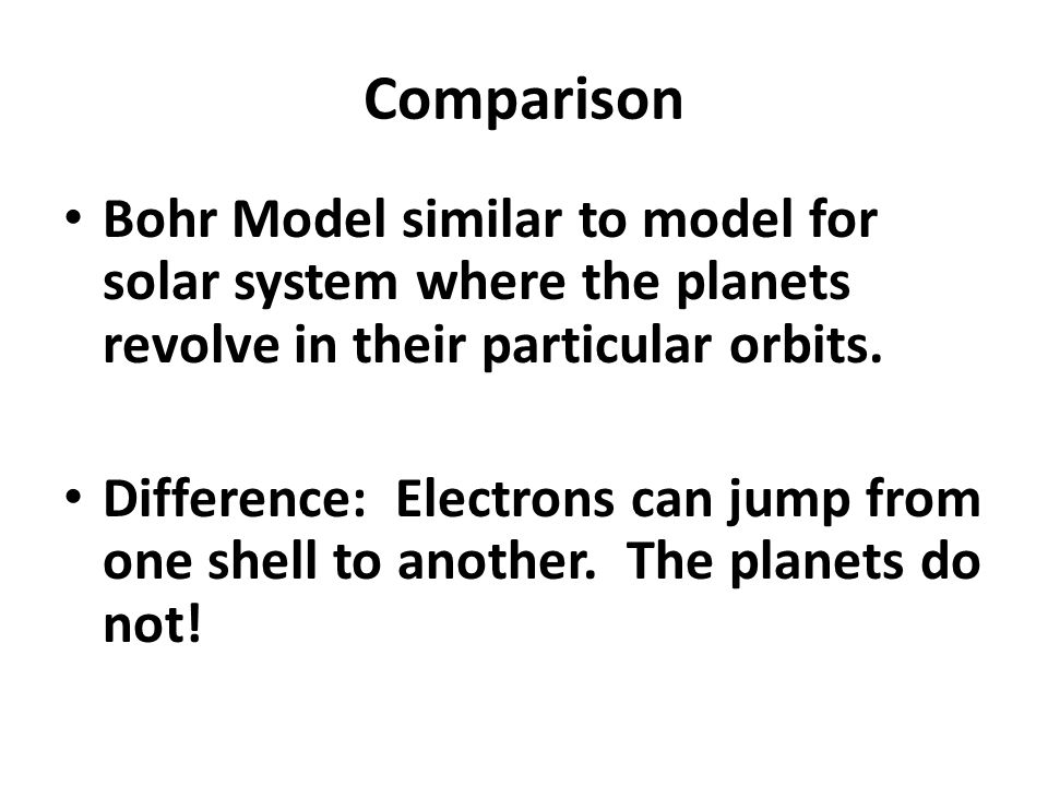Comparison Bohr Model similar to model for solar system where the planets revolve in their particular orbits.