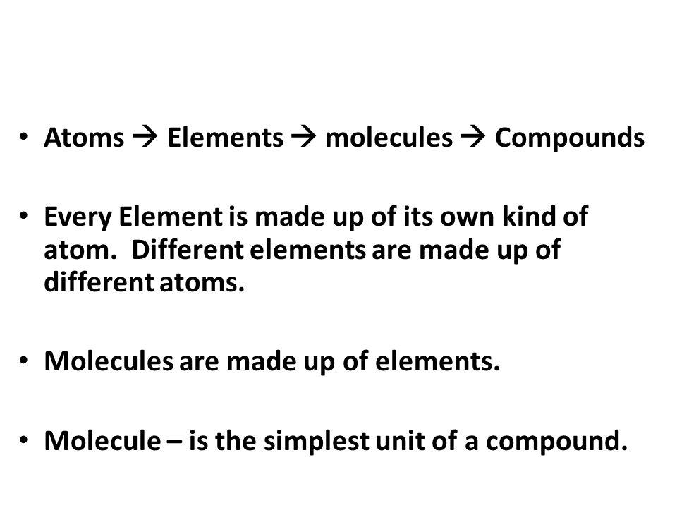 Atoms  Elements  molecules  Compounds