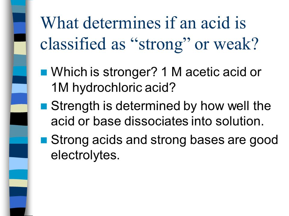 What determines if an acid is classified as strong or weak