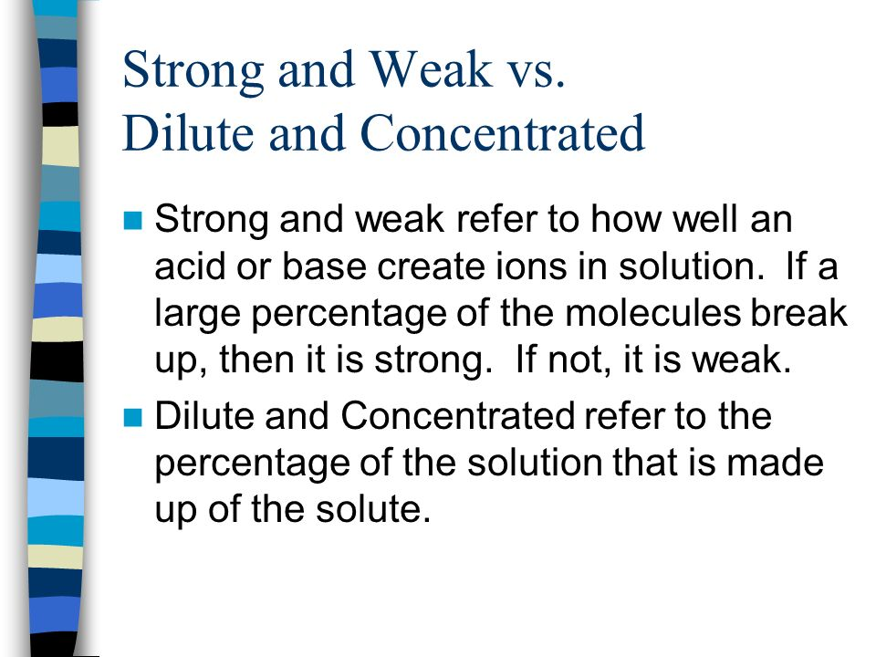 Strong and Weak vs. Dilute and Concentrated
