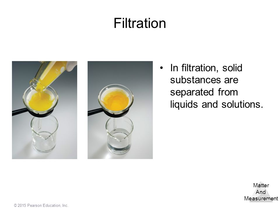 Filtration In filtration, solid substances are separated from liquids and solutions.