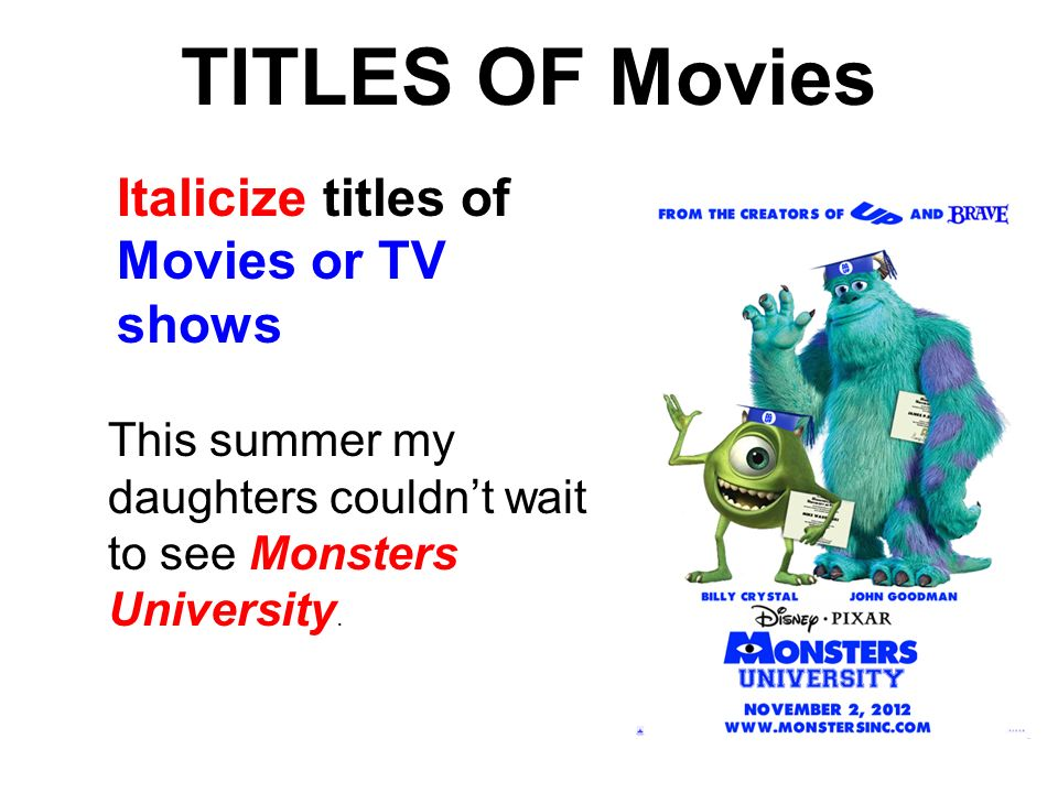 Italicize a movie