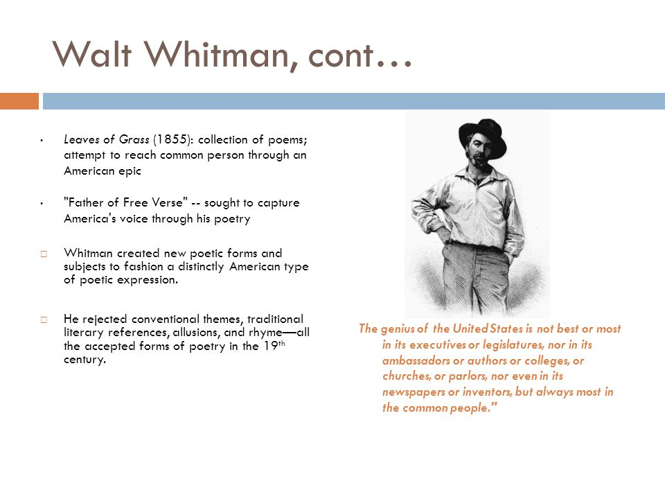 a poetic expression of walt whitman Poem hunter all poems of by walt whitman poems 393 poems of walt whitman phenomenal woman, still i rise, the road not taken, if you forget me, dreams.