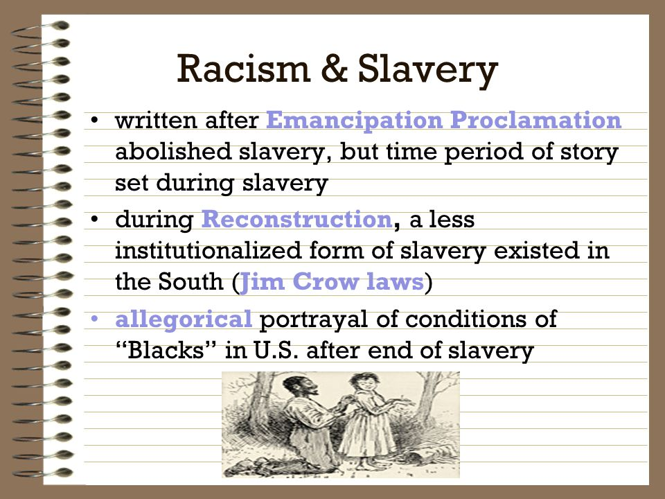 the important theme of slavery in mark twains the adventures of huckleberry finn Mark twain's novel 'the adventures of huckleberry finn' ostensibly explores the theme of racism and slavery through the plot and setting of the story, as well.