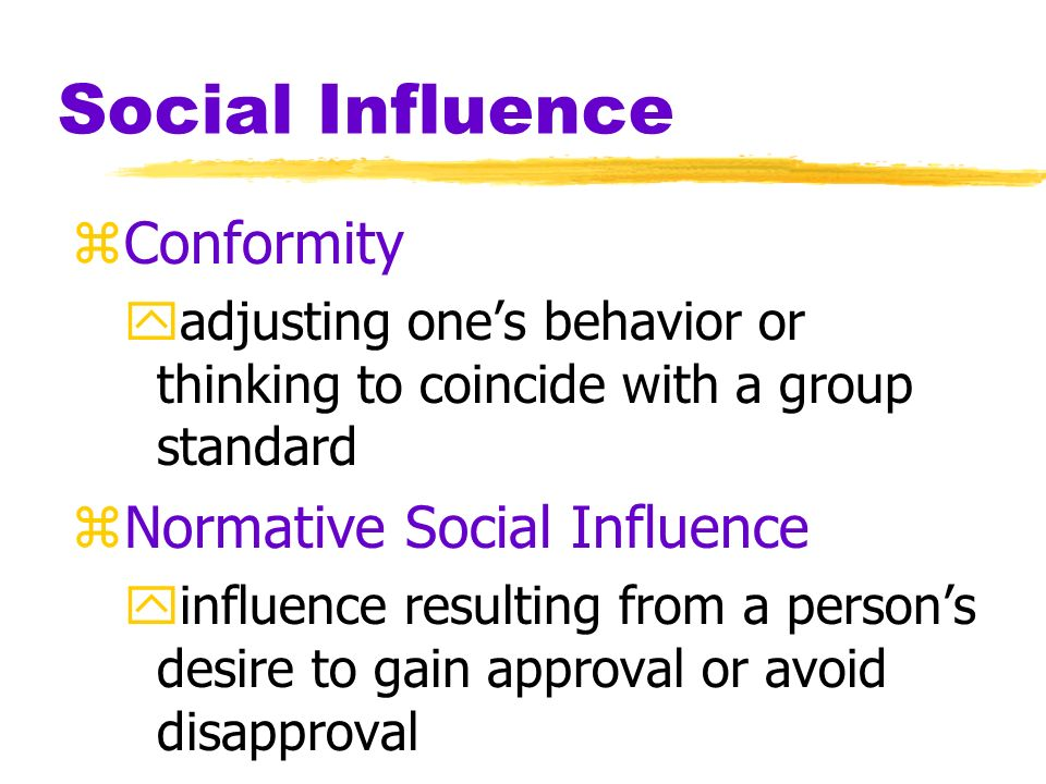 analysis of conformity and group influence Conformity, in its turn, is following the group norms by group members, which is usually done by individuals for the sake of belongingness thus seeking group acceptance thus conformity can be described as an individual behavior adapting, or matching, to that of the chosen group.