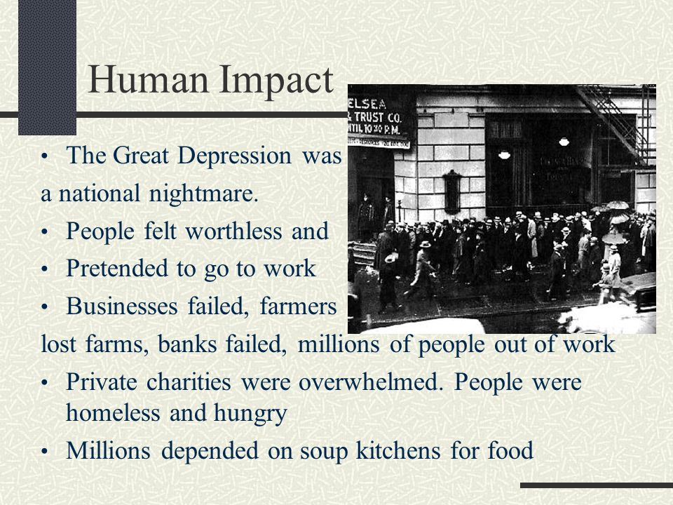 great depression impact on us Noting that after hoover left the white house the great depression continued for eight more years despite please contact us and indicate that you would like to.