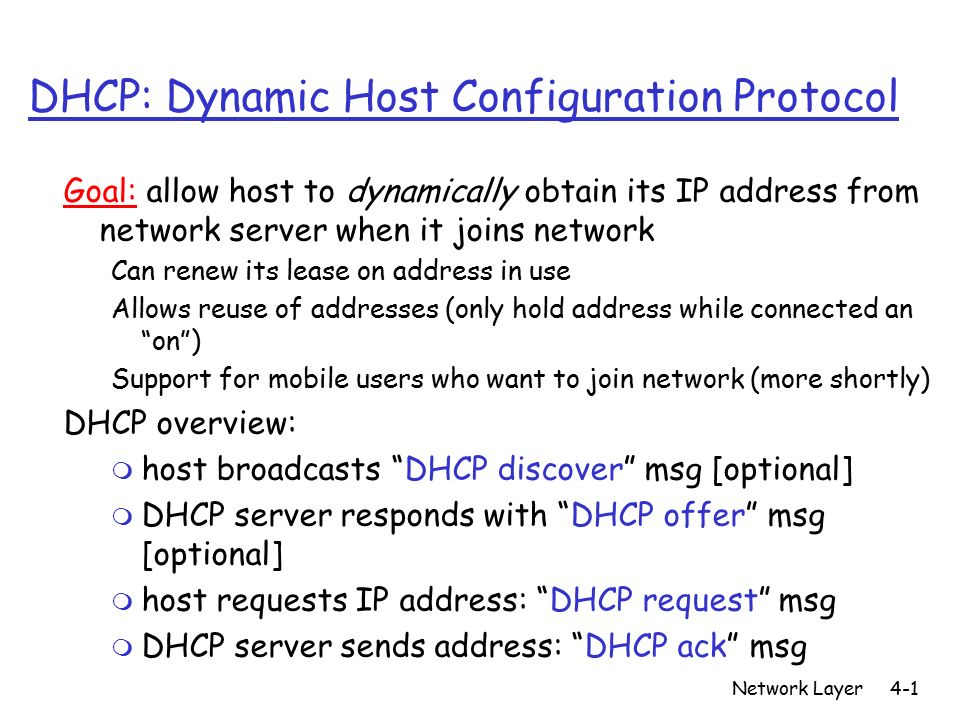 dynamic host configuration protocol dhcp Dynamic host configuration protocol (dhcp) is the protocol which assigns an ip address to the devices that are available on the network.