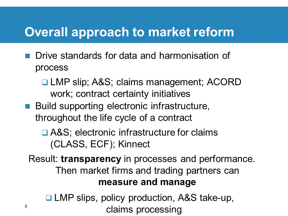Overall approach to market reform
