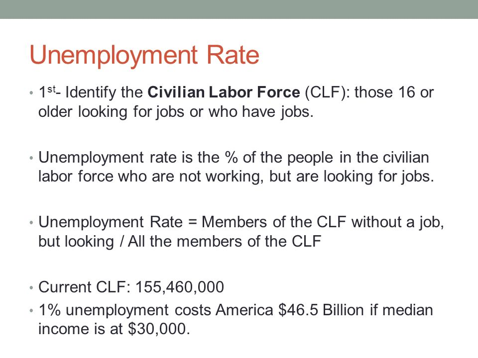 Unemployment Rate 1st- Identify the Civilian Labor Force (CLF): those 16 or older looking for jobs or who have jobs.