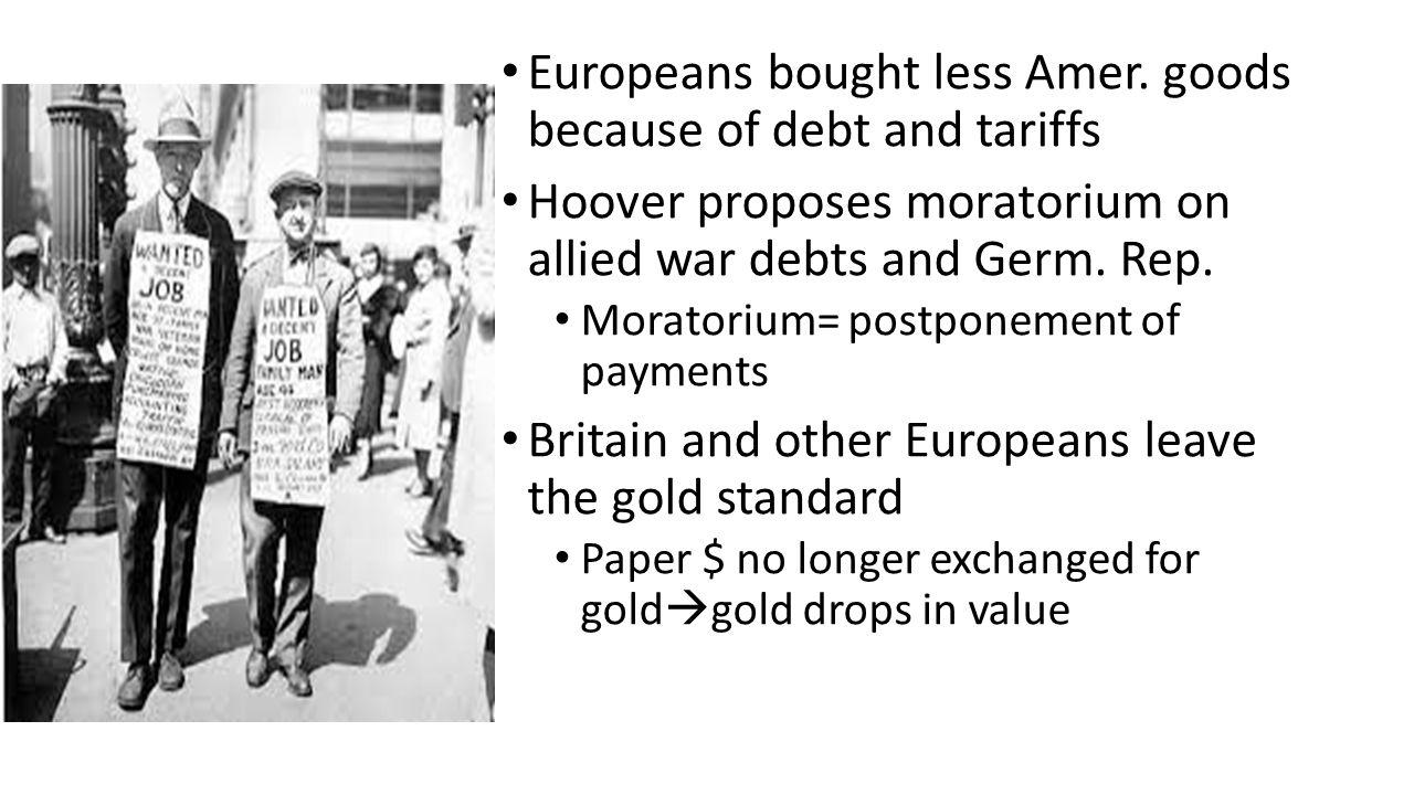 Europeans bought less Amer. goods because of debt and tariffs