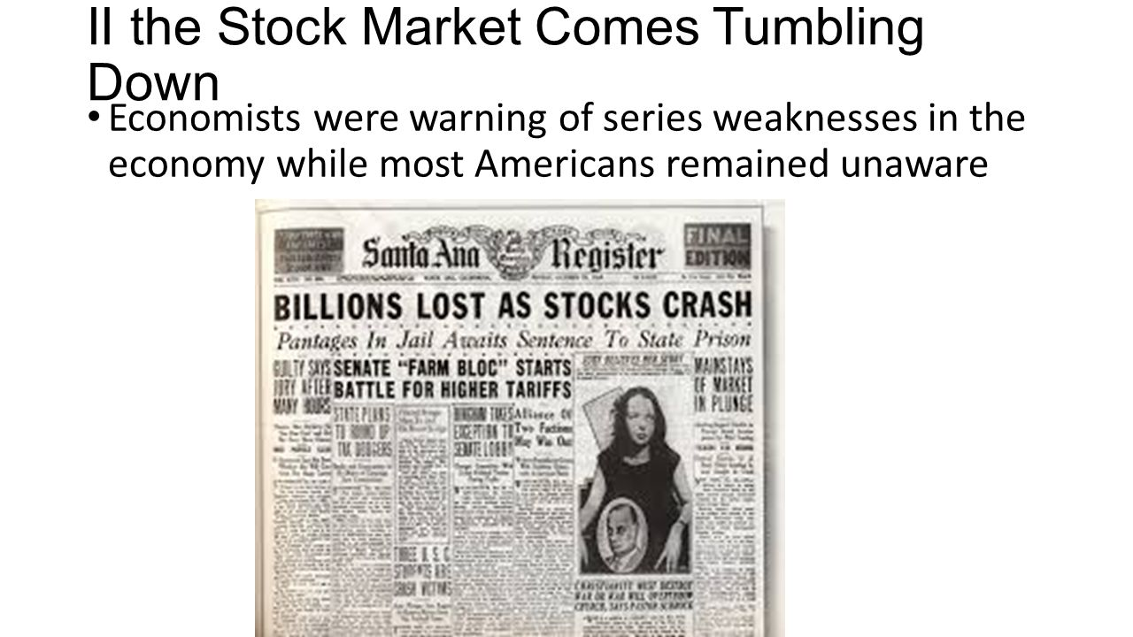 II the Stock Market Comes Tumbling Down