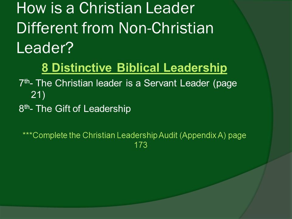christian leadership audit malphurs Leadership analysis  aubrey malphurs defines leadership by expressing that leaders  serve and allow more effective leadership christian leader audit in.