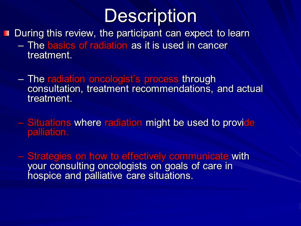 Radiation Oncology in Palliative Care - ppt video online download