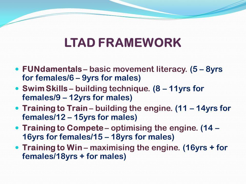 LTAD FRAMEWORK FUNdamentals – basic movement literacy. (5 – 8yrs for females/6 – 9yrs for males)