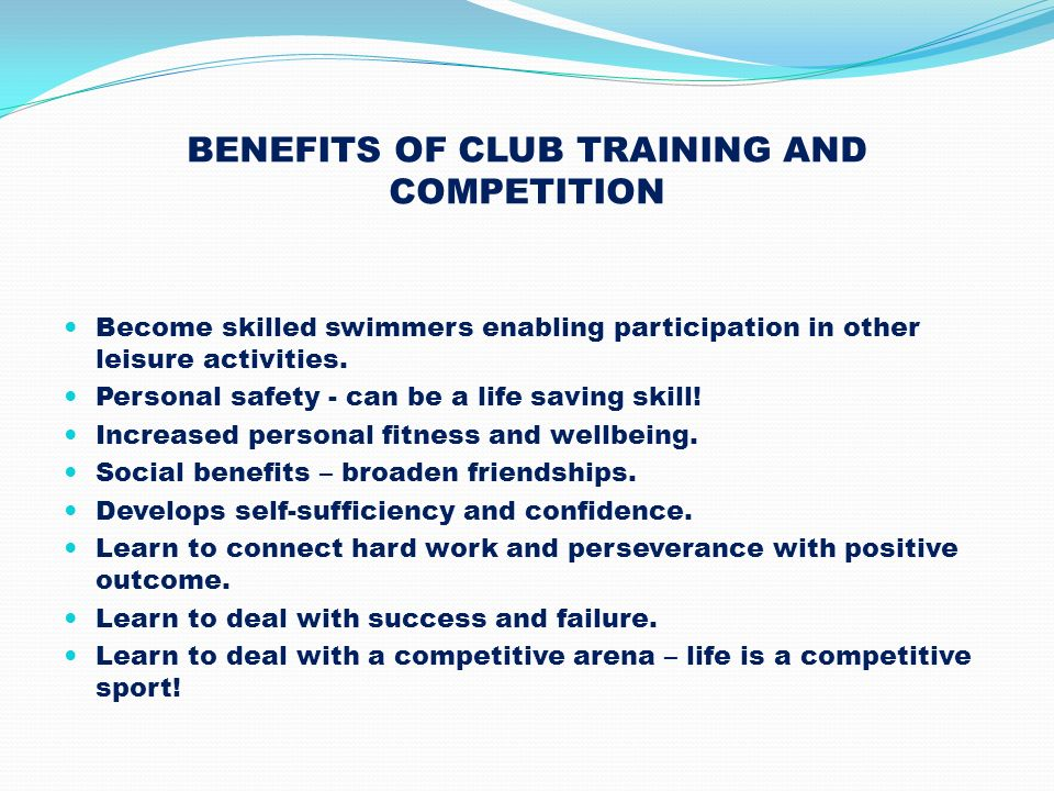 BENEFITS OF CLUB TRAINING AND COMPETITION