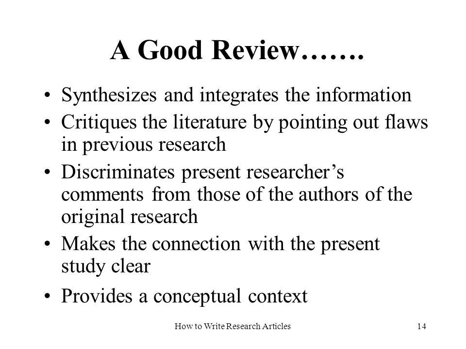 critique research article