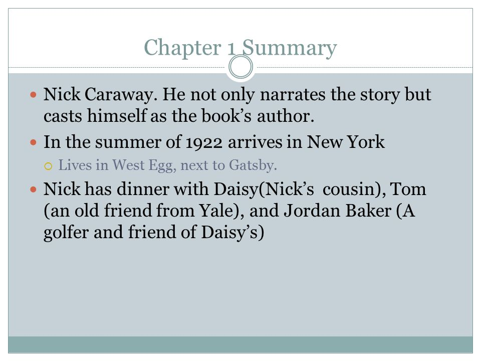 great gatsby chapter summary In chapter 4 nick carraway has been invited out to lunch by jay gatsby, gatsby picks nick up in a large cream coloured car with luxurious green seats which nick is.