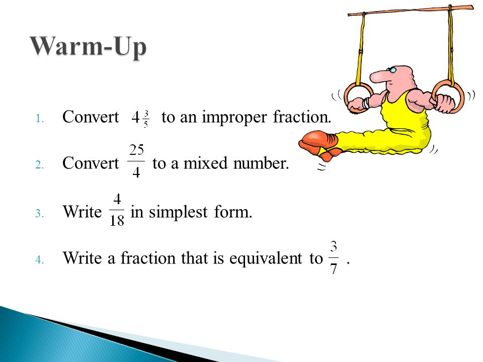 write as an improper fraction Online calculator for converting mixed numbers to improper fractions this step-by-step online calculator will help you understand how to convert mixed numbers to improper fractions.