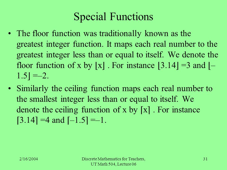 Number theory special functions matrices ppt download for Integer floor function