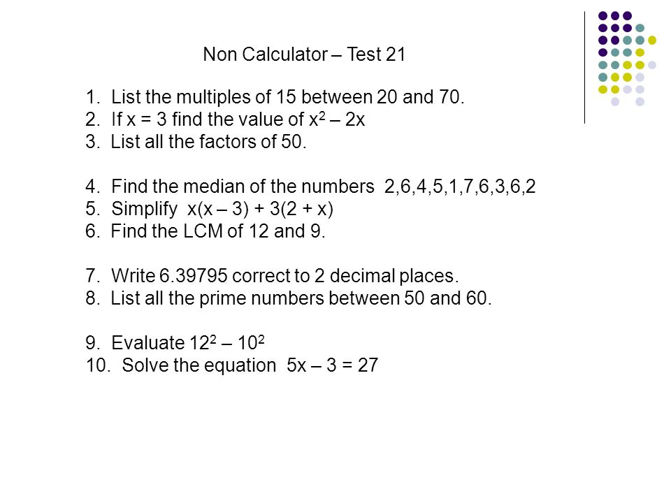 Non calculator tests second year ppt download 42 non calculator ccuart Images
