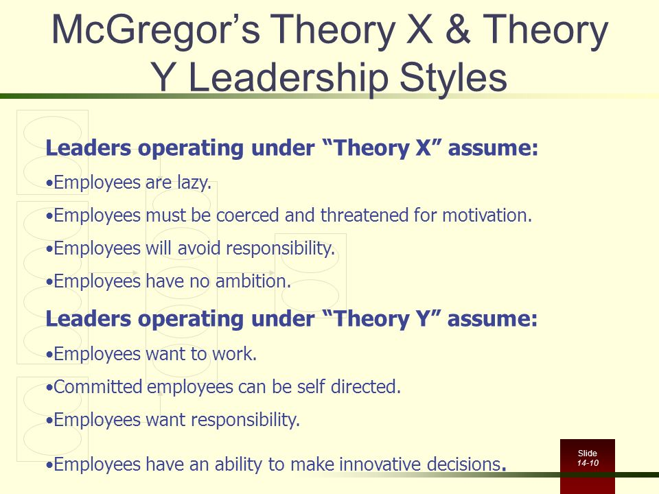 McGregor's Theory X & Theory Y Leadership Styles