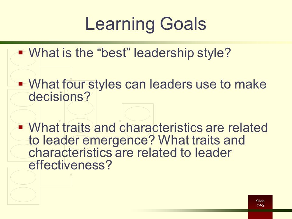 Learning Goals What is the best leadership style