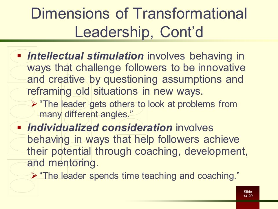 Dimensions of Transformational Leadership, Cont'd
