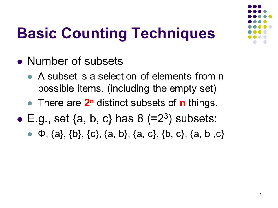 basic counting techniques The specific counting techniques we will explore include the multiplication rule, permutations and combinations objectives in this lesson, our goals are to.