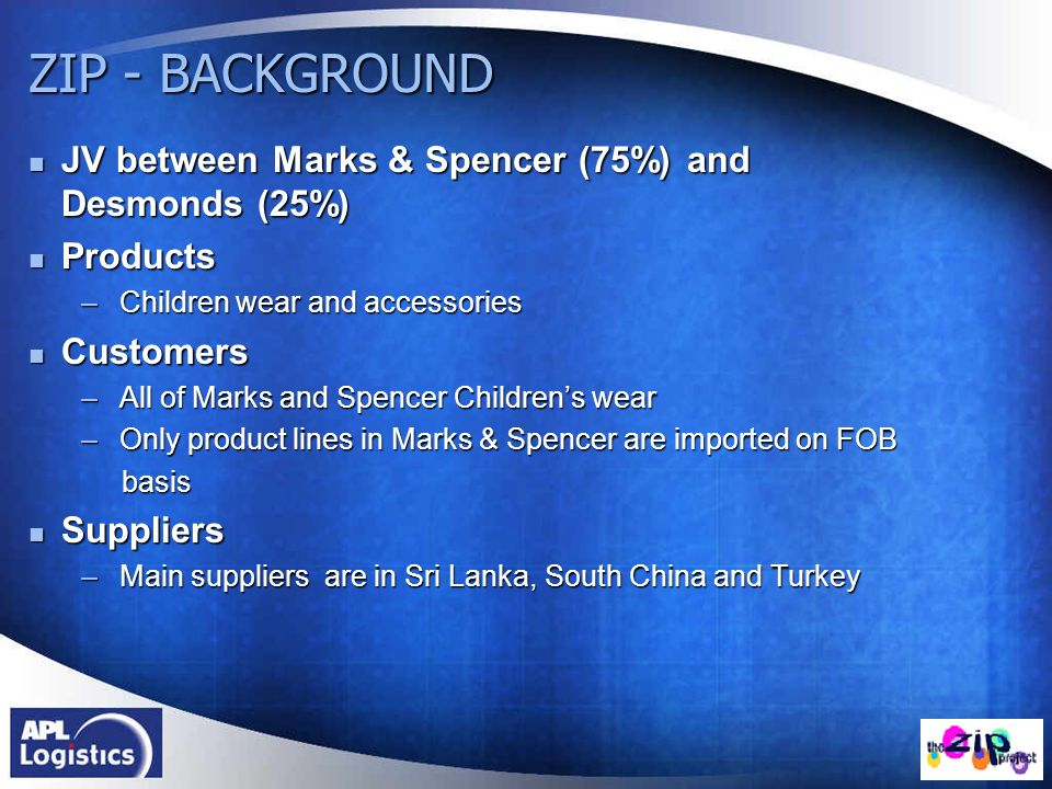 ZIP - BACKGROUND JV between Marks & Spencer (75%) and Desmonds (25%)
