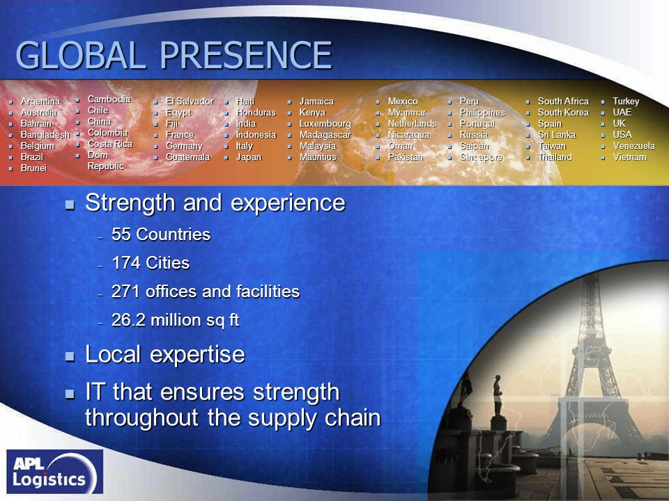 GLOBAL PRESENCE Strength and experience Local expertise