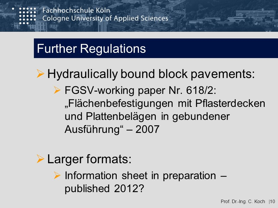 Hydraulically bound block pavements: